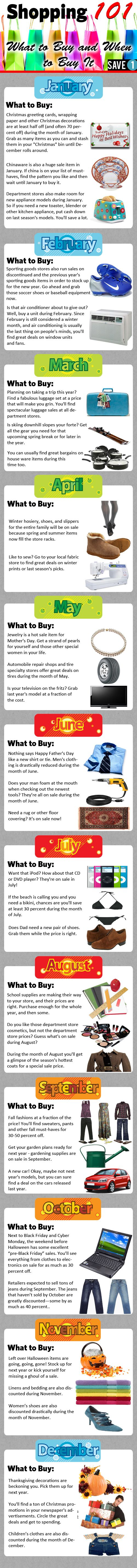 What to buy and when to buy it - month by month guide to save you money.  Will need to adjust to work for the Southern Hemisphere but still a great basis to start on :)