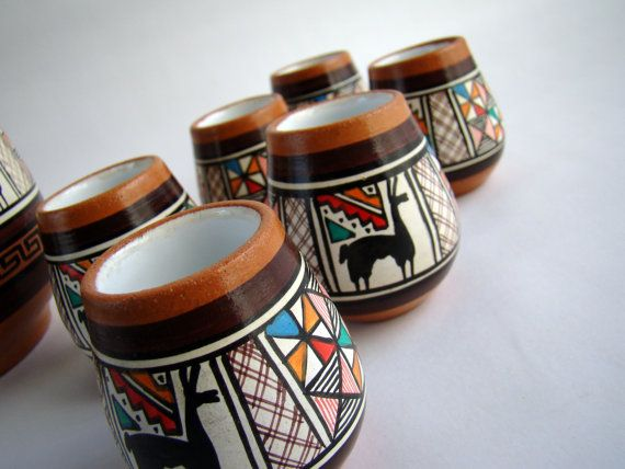 Carafe and Six Cups Southwestern Tribal by TheArmchairAntiquer