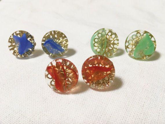 Ohajiki Glass Stud EarringsRetro JapaneseCoin-shaped by UkiYuki