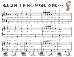 Easy FREE Piano Music for Rudloph the Red Nosed Reindeer with simple lesson plan.