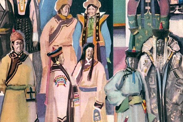 Монголия праздник синие костюмы