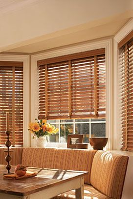 Wood Blinds in Golden Chestnut Finish with Swash Butterscotch Cloth Tape