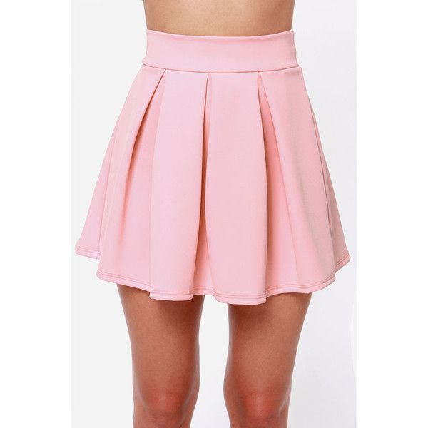 LULUS Exclusive Times Flare Light Pink Skirt (£49) ❤ liked on Polyvore featuring skirts, flared skater skirt, flared hem skirt, light pink skater skirt, pink skater skirt and skater skirts
