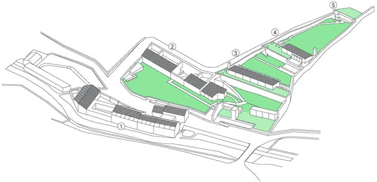 Dibujo del conjunto de edificaciones que componen la intervención junto al río Sarela.