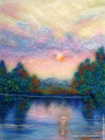 Пейзаж ручной работы. Ярмарка Мастеров - ручная работа Утро над прудом. Handmade.