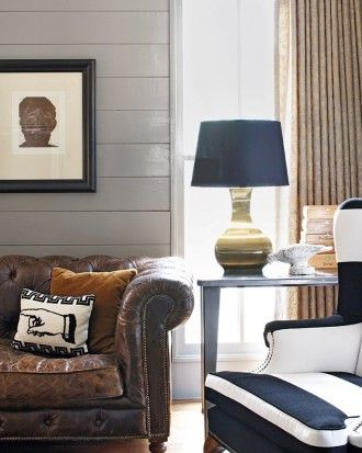 Grey Walls with Brown and Blue Furniture and Accents