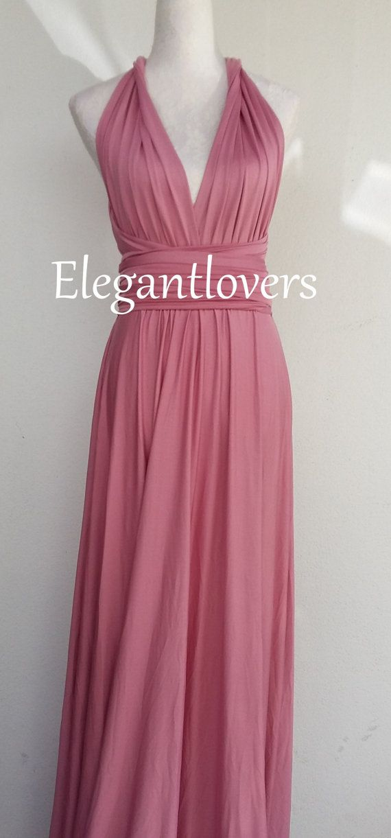 Dusty Pink Bridesmaid Dress Wedding Infinity Wrap Convertible