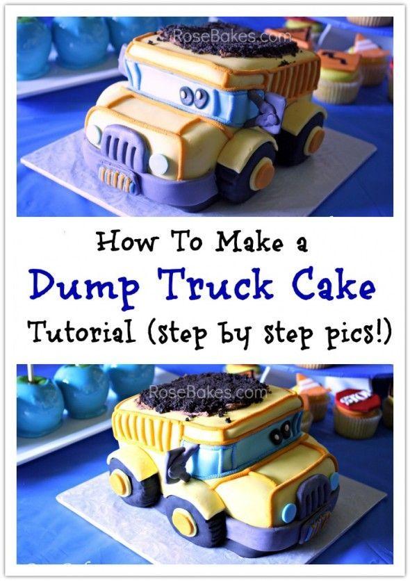 How to Carve a 3-D Dump Truck Cake (or Smash Cake) | http://rosebakes.com/how-to-carve-3-d-dump-truck-cake-or-smash-cake-tutorial/