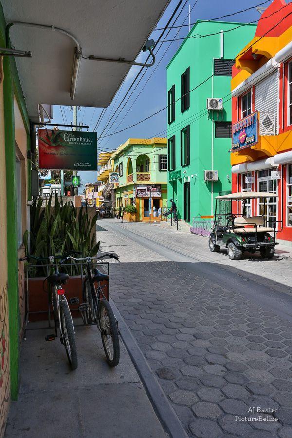 Image:  Middle Street Urban Landscape, San Pedro Town, Ambergris Caye, Belize - July 2013 AJ Baxter