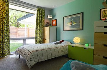 Dallas, TX: Stolp - modern - kids - dallas - Sarah Greenman My Houzz: Humor and Kitsch Meet Midcentury Modern (14 / 19) Cool aqua and bold green brighten Jack's bedroom. The Stuva storage system from Ikea keeps toys, clothes and games tucked away.