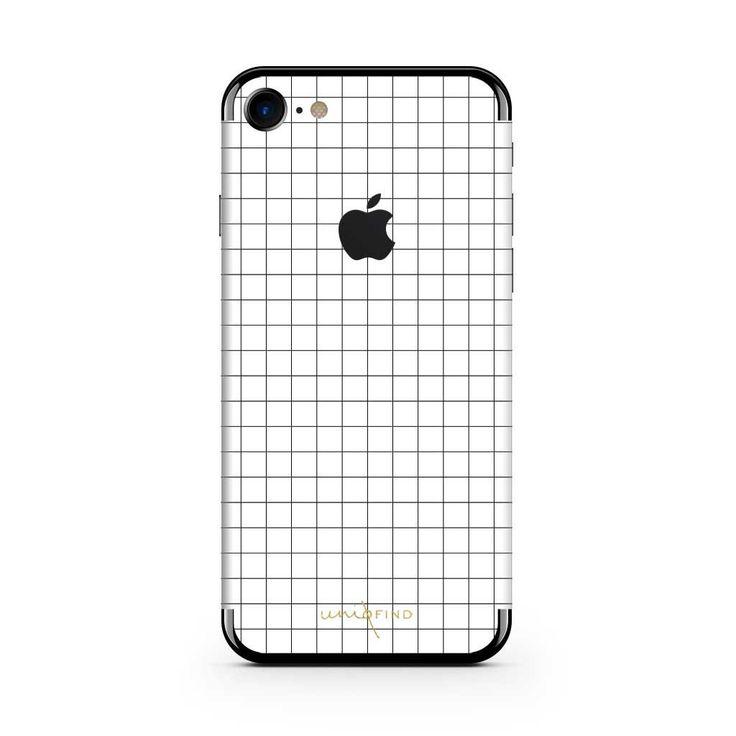 White Grid Line iPhone Skin   Case