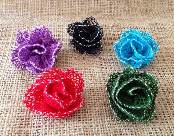 Rose Rose Brooch fatto a mano merletto a fuselli a regali