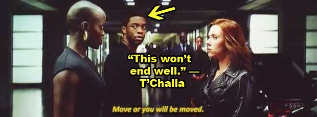 """Kasumba played T'Challa's bodyguard, and to be honest, it looks as though she had Natasha shook. 