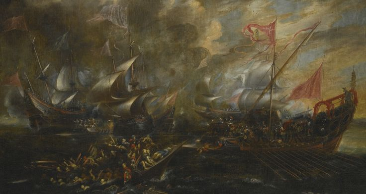 Attributed to Andries van Eertvelt ANTWERP 1590 - 1652 MARINE BATTLE BETWEEN TURKS AND CHRISTIANS oil on canvas, unlined 124.5 by 131.2 cm.; 49 by 91 in.: