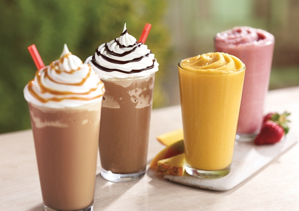 Caramel Frappuccino, Mocha Frappuccino, Tropical Mango Real Fruit Smoothie, Strawberry Banana Real Fruit Smoothie. [Burger King] http://nrn.com/article/meet-new-menu-burger-king?utm_source=NRNonline_medium=pinterest