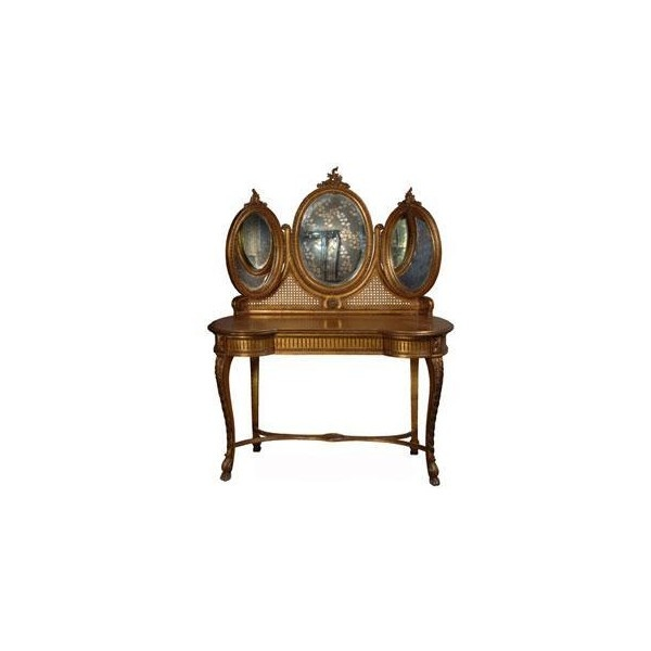 Keswick 3 Mirrored Rococo Dressing Table ($1,850) found on Polyvore