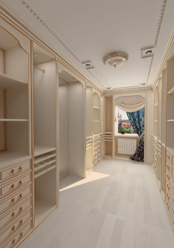 Light wood deep walk-in closet