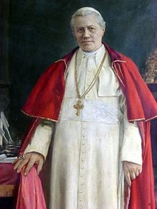 Saint Pope Pius X (2 June 1835 – 20 August 1914), born Giuseppe Melchiorre Sarto, was the 257th Pope of the Catholic Church, serving from 1903 to 1914. He was the first pope since Pope Pius V to be canonized. Pius X rejected modernist interpretations of Catholic doctrine, promoting traditional devotional practices and orthodox theology.