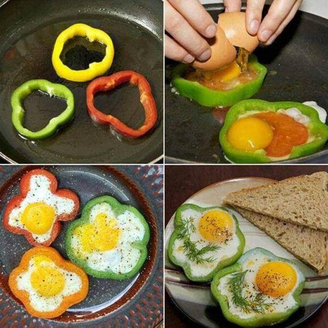 Pour un œuf cuit plus attrayant, placez-le à l'intérieur d'une tranche de poivron