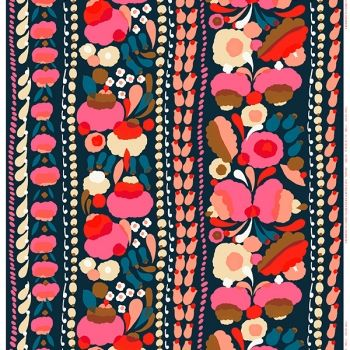 Marimekko's Tuppura fabric, blue - red - yellow
