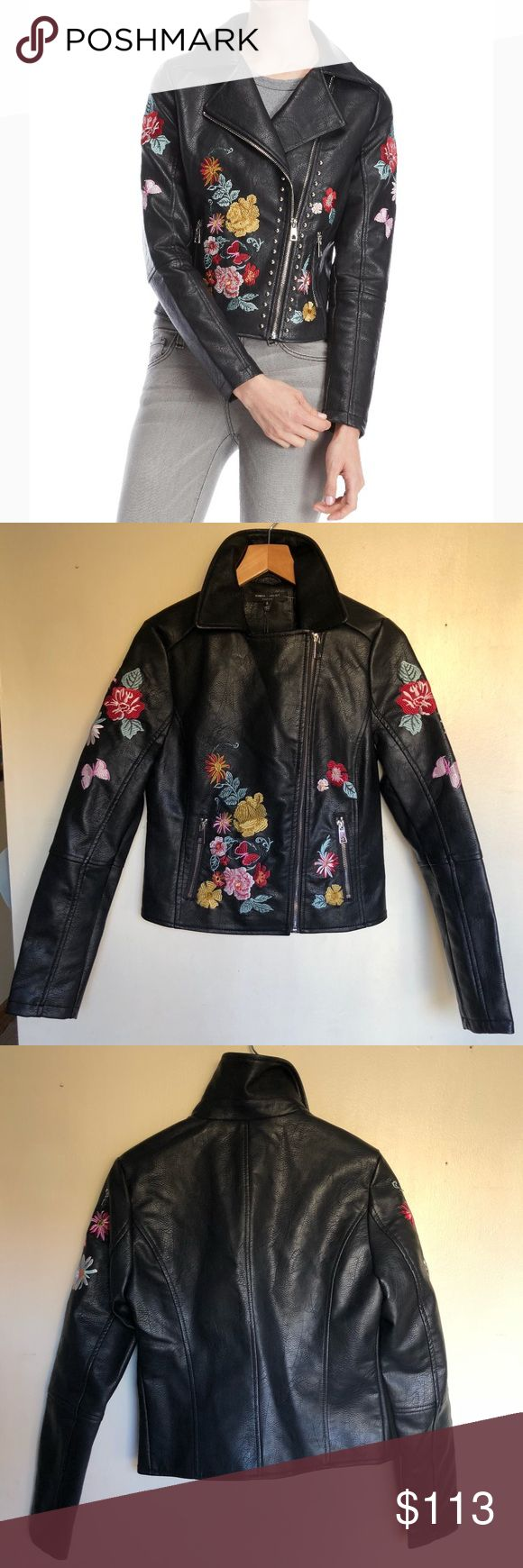 🎉HP🎉 Romeo & Juliet faux leather jacket NWT Romeo and Juliet Couture floral embroidered black faux leather jacket size Medium (already sold the Small shown in images). The shell is 100% polyurethane and the lining is 100% polyester material. Last 7 images of the actual item for sale. Feel free to make any reasonable offers using the Offer button and plz don't haggle in the comments section. No trades. Romeo & Juliet Couture Jackets & Coats