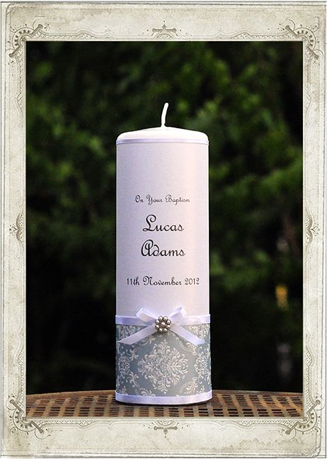 Christening - Classic Blue Baptism Candle - Personalised Candles Sydney | Wedding, Christening, Baptism, Birth, Naming Day Candles | Adorned Candle Boutique