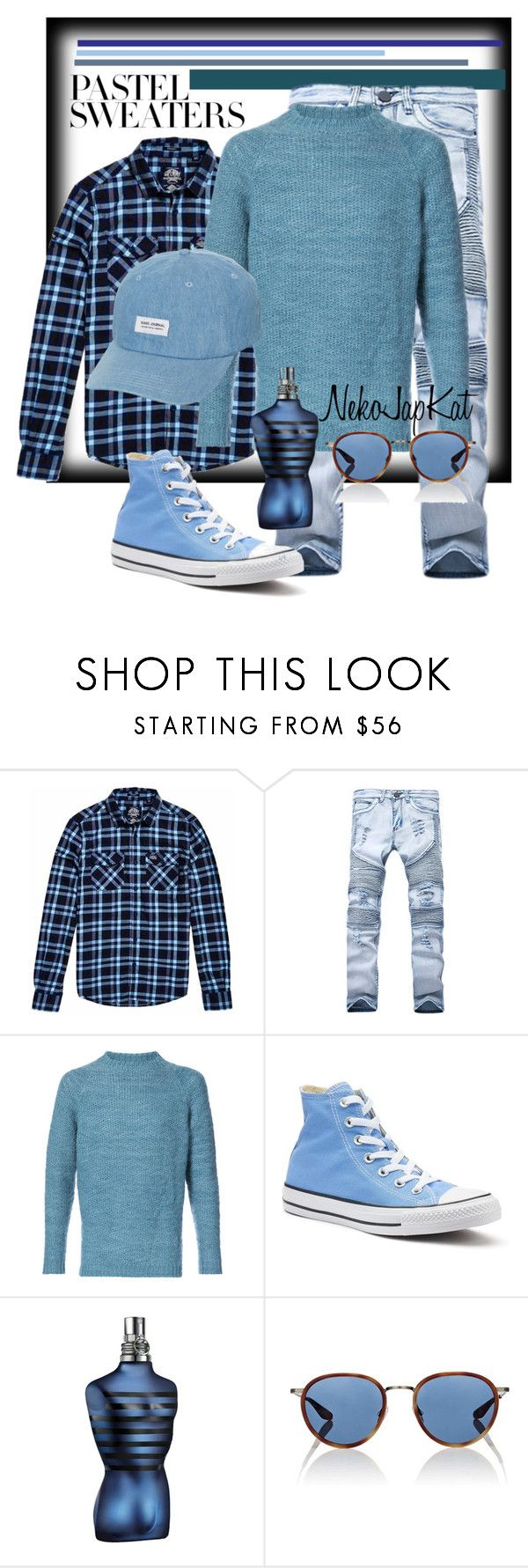 """""""men pastels"""" by neko-m-tucker-smith ❤ liked on Polyvore featuring Superdry, The Elder Statesman, Converse, John Lewis, Barton Perreira, Banks, men's fashion, menswear and pastelsweaters"""