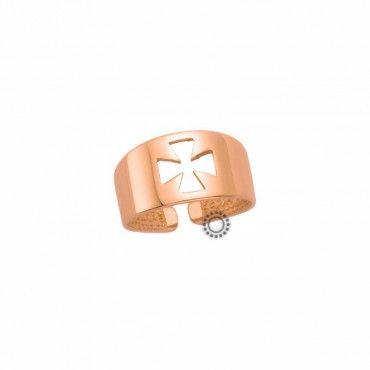 Δαχτυλίδι για νύχι Κ9 ροζ χρυσό. Ένα fashion μικρό δαχτυλίδι για νύχι ή σεβαλιέ από ροζ χρυσό Κ9 ανοικτό σε σχήμα σταυρού. Δωρεάν συσκευασία δώρου. #σεβαλιε #σταυρος #χρυσο #δαχτυλίδι