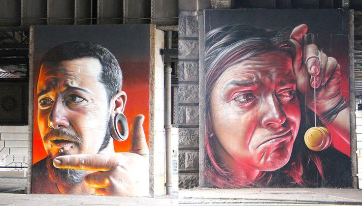"""Street Art Glasgow - """"The Five Faces"""" (Pięć twarzy), autor: Smug"""