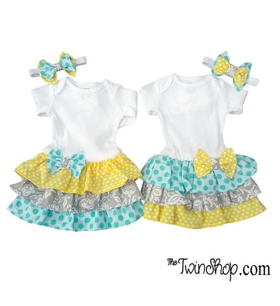 Sister Twin Girl Set  headbands  Grace & Gracie set by TheTwinShop, $55.00