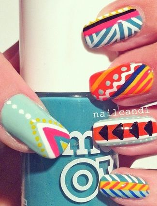 Mexican inspired nails !: Nails Design, Mosaics Nails, Colors Nails, Hot Design Nails Art, Nails Art Design Tribal, Summer Nails, Tribal Nails, Geometric Design, Pastel Colors