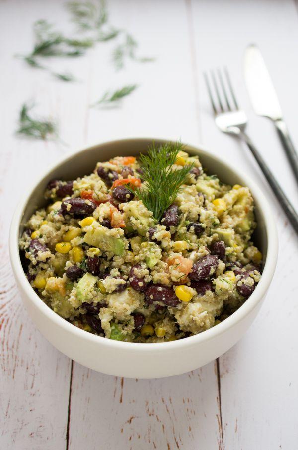 Salade de quinoa, avocat, haricots rouges et aneth. Recette de salade gourmande et healthy sur la Godiche / www.lagodiche.fr