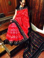 Red Double Ikat with Black Ikat Border, White wave patterns on the Body, Black and Multi coloured designs on Pallu | Authentic Handloom Products In Best Designs From Indian Artisans -  shrusEternity