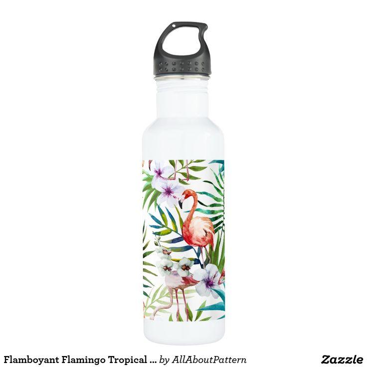 Flamboyant Flamingo Tropical nature garden pattern Water Bottle