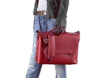 Aktentasche Leder Damen Herren Umhängetasche modern 3 Fächer rot Tasche Schultertasche Lehrertasche Businesstasche