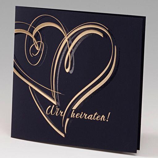 Edle Hochzeitseinladungen in nachtblau und gold. Modernes Motiv & exklusive Materialien bestimmen den Charakter dieser Hochzeitseinladung. Online bestellen - nur bei uns! top-kartenlieferant
