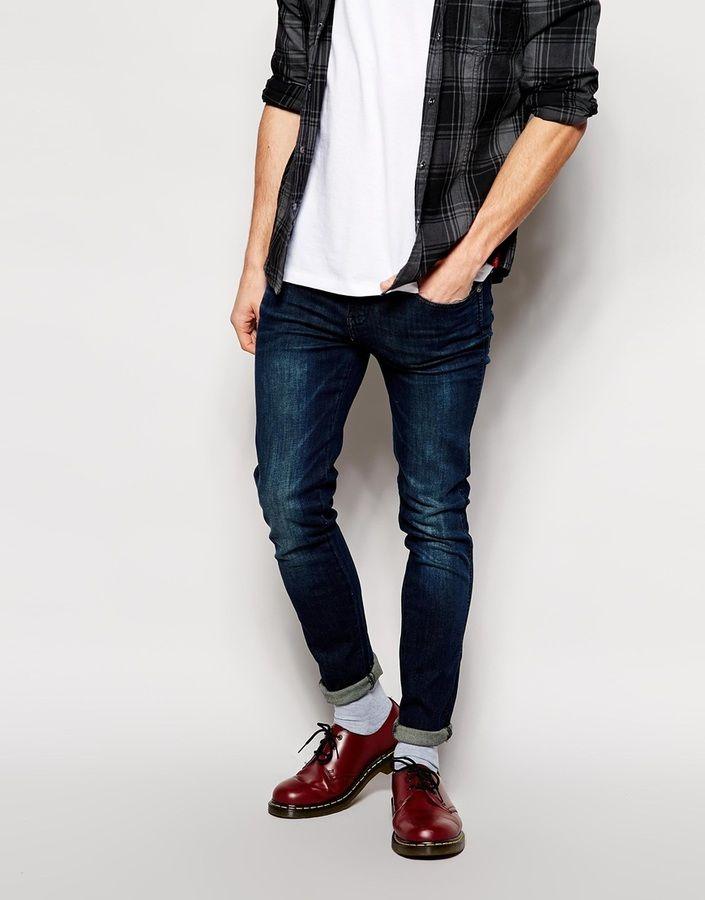 €84, Dunkelblaue Enge Jeans von Dr. Denim. Online-Shop: Asos. Klicken Sie hier für mehr Informationen: https://lookastic.com/men/shop_items/183070/redirect