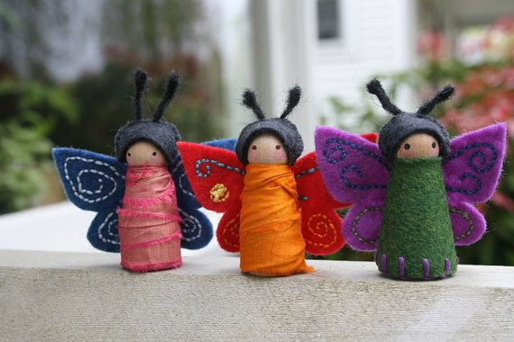 The latest butterfly fairies I have on etsy.  Two of them I tried something new and used recycled sari silk.
