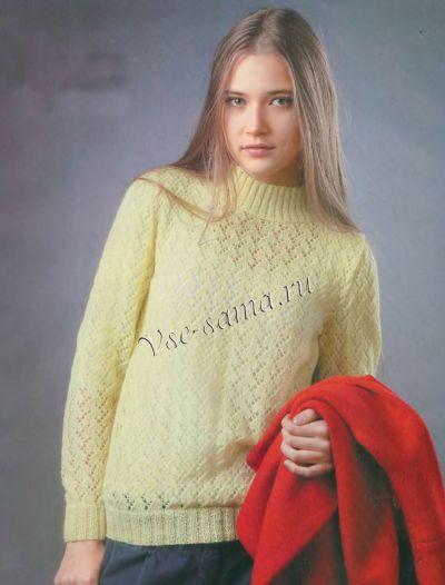 Желтый ажурный пуловер, фото