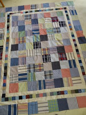 Men's plaid and striped shirt fabrics in squares with triple border.  Love Laugh Quilt: Friday