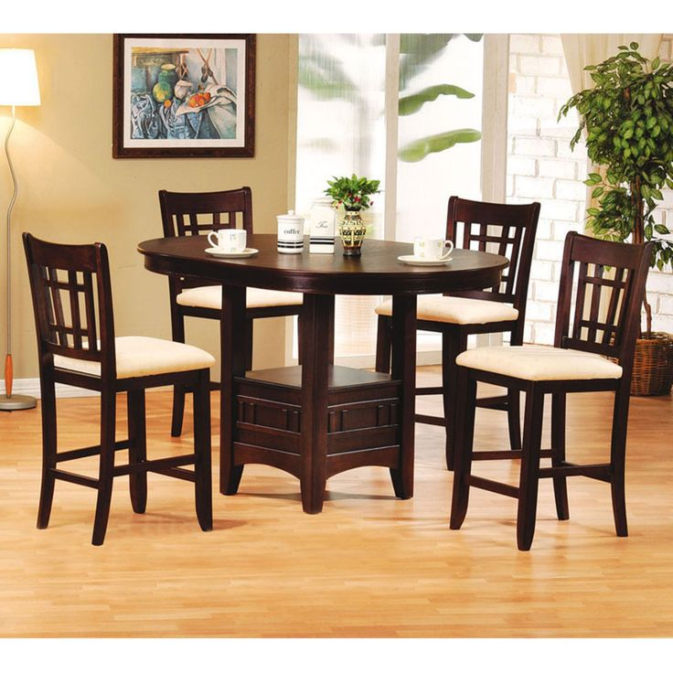Acme Furniture Lugano 5 Piece Round Pub Table Set - ACM1034