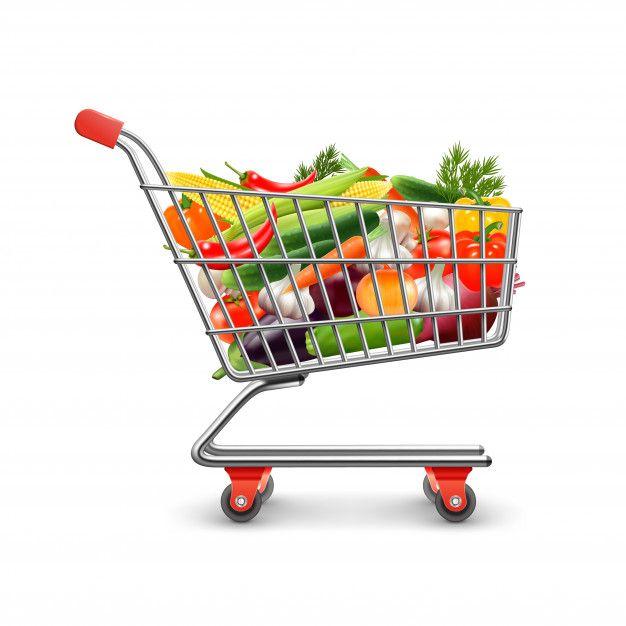 Baixe Os Vegetais Que Compram O Conceito Realístico Com Carrinho De Compras E Bens Vector A Ilustração Gratuitamente Carrinho De Mercado Carrinho Desenho Carrinho De Supermercado