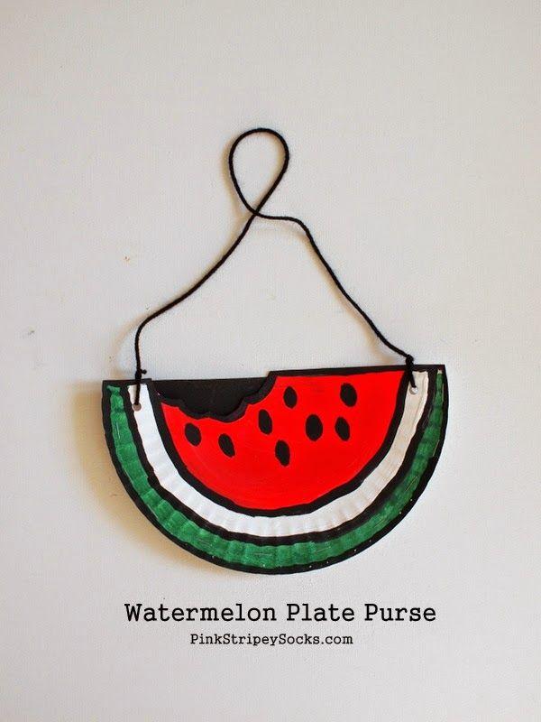 Watermelon Paper Plate Purse Kids' Craft
