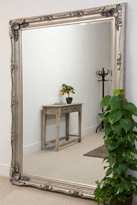 Xl Ornate Shabby Chic Style Framed Mirror In Silver 215x154cm