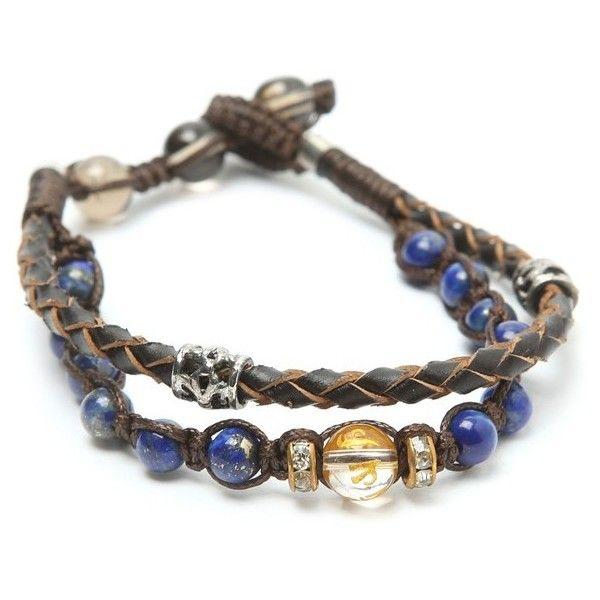 Royal Blue Beads Bracelet (€17) ❤ liked on Polyvore featuring jewelry, bracelets, jewels, beaded bangles, leather jewelry, wrap bracelet, bracelet bangle and wrap around bracelet