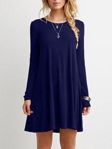 Casual Blue Shift Long Sleeve Dress
