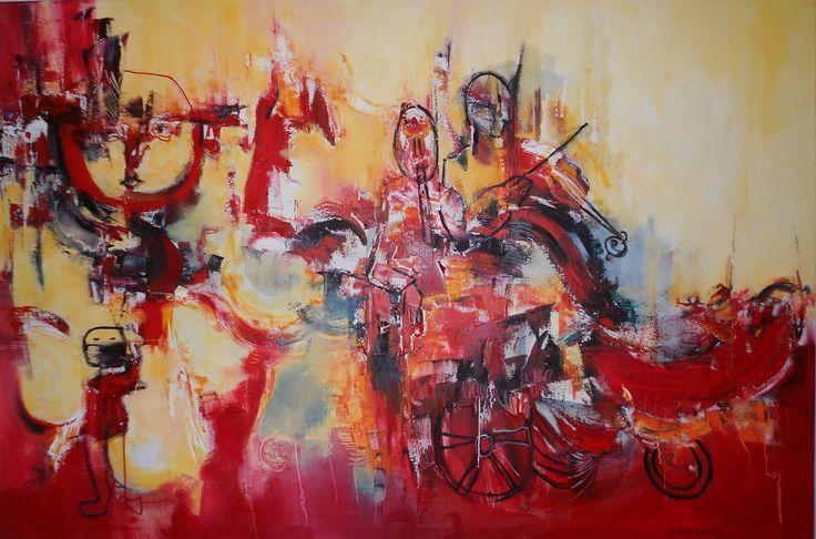 """""""Sinfonía azarosa"""" - Silvia Hilerowicz - Oleo sobre tela - 80 x 120 cm  www.esencialismo.com"""