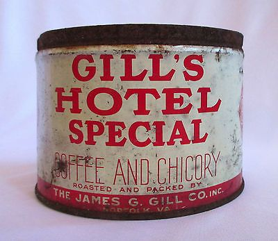 Vintage Gill's Hotel Special Coffee Chicory Can - Empty No Lid Norfolk Virginia