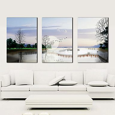 Stretched Canvas Art Landscape Quiet Tree and River Set of 3 – AUD $ 82.63