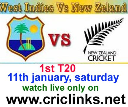 1st T20 between West indies vs Newzland will be played on saturday.Match will be start 11.00 AM PST.11.30 IST.Watch live action only on http://www.criclinks.net/